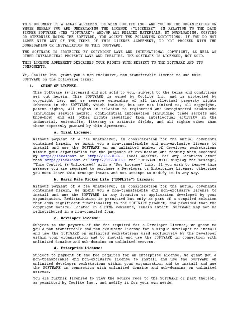 License Agreement License Copyright