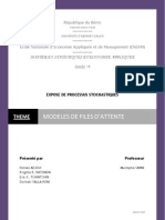 EXPOSE PROCESSUS STOCHASTIQUE MODELE DE FILES DATTENTE corrigé ERIC