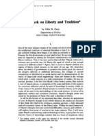 F.a. Hayek on Liberty and Tradition
