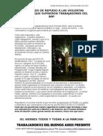 Comunicado de REPUDIO A LAS VIOLENTASAGRESIONES QUE SUFRIERON TRABAJADORXS DELBAP