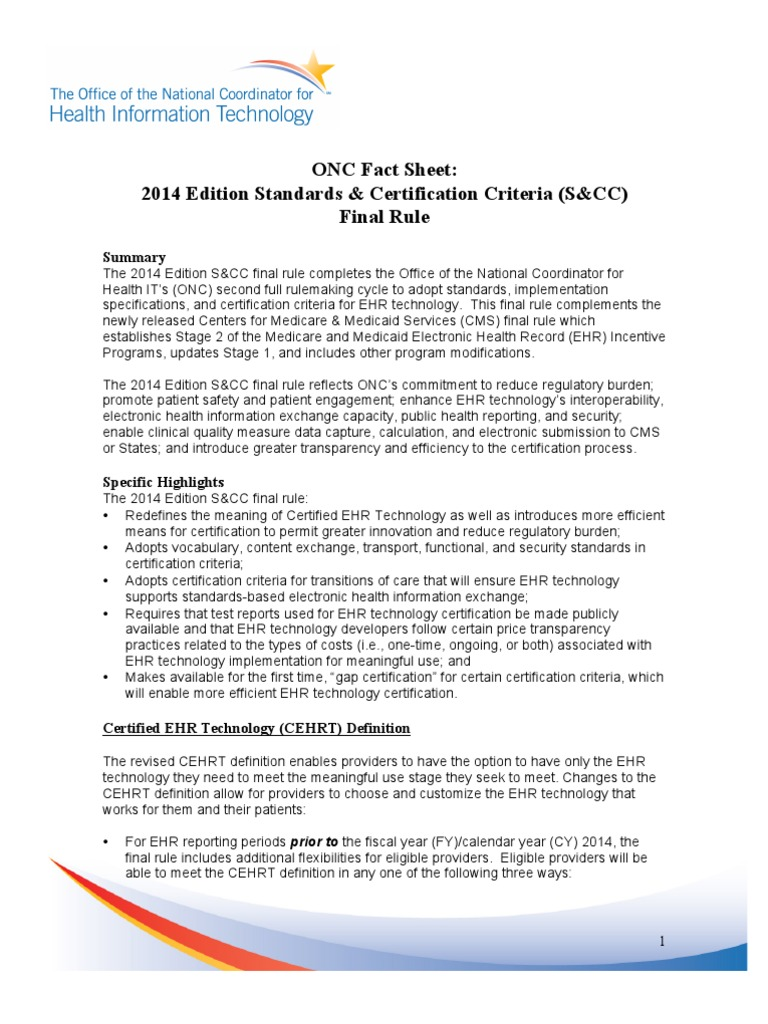 onc final rule fact sheet: 2014 standards and certification criteria