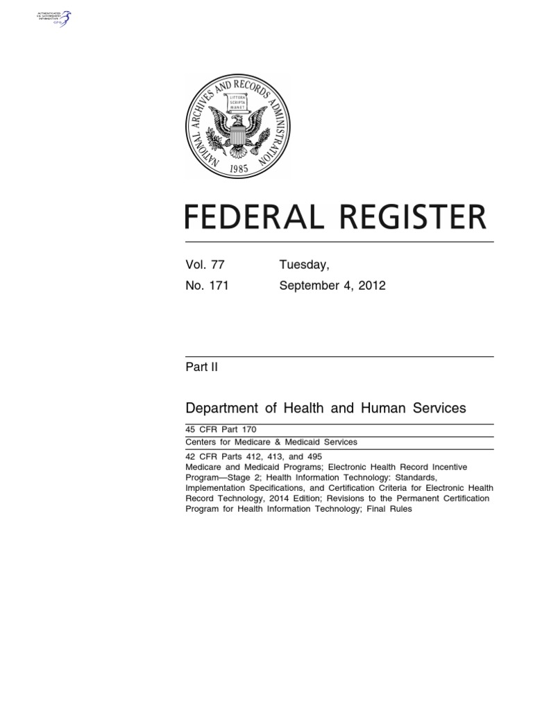 Read The Cms Final Rule Electronic Health Record Medicare