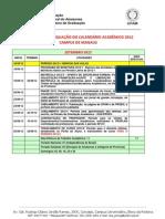 Calendário acadêmico novo UFAM