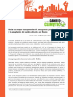 Transparencia Presupuestaria del Financiamiento para Cambio Climático