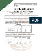 CU-Wisconsin Statewide Poll Topline Summary 11-1-2012 PDF