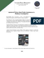 Press Release November 1 Robbery Suspect