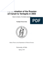 The Termination of the Russian Oil Transit to Ventspils in 2003
