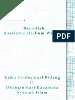 Etika Profesi Dari Kacamata Syariat Islam
