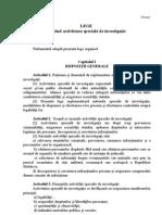 Proiectul Legii Cu Privire La Activitatea Speciala de Investigatie