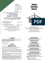 October 21, 2012 Church Bulletin