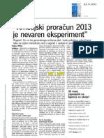 Dnevnik - Kmetijski proračun 2013 je nevaren eksperiment - 2.11.2012