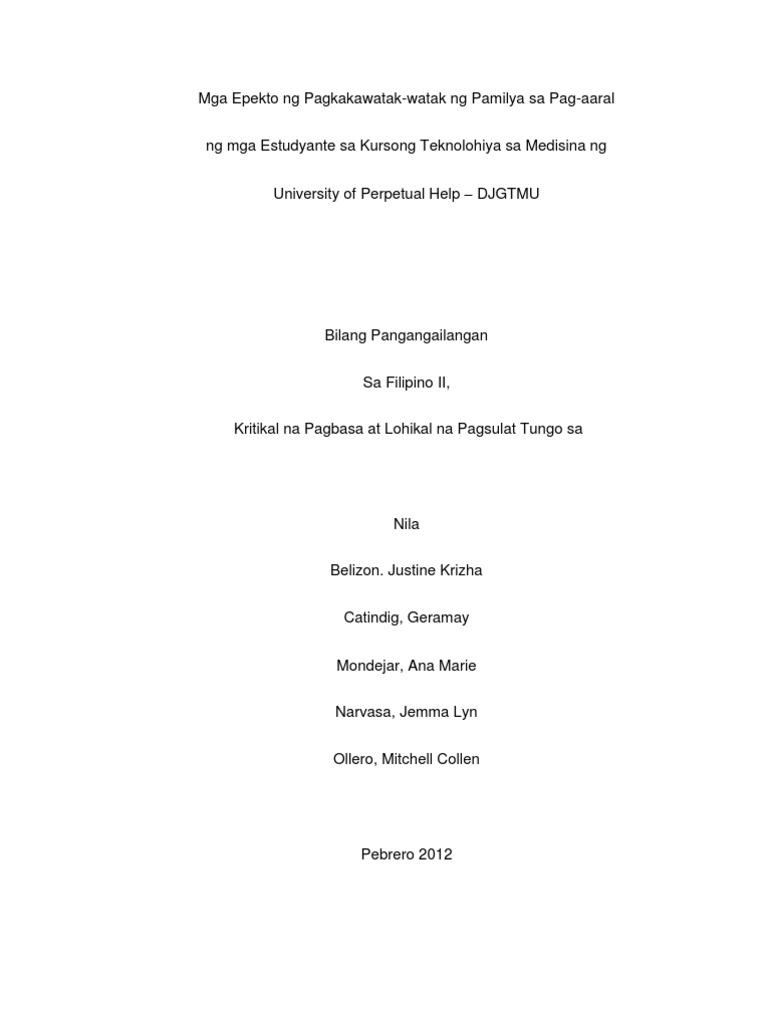 filipino thesis titles tagalog