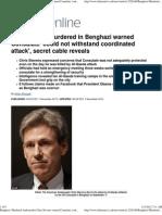 Benghazi Murdered Ambassador Chris Stevens Warned Consulate 'Co