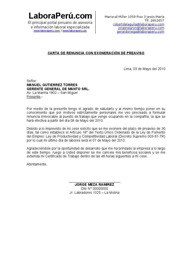 Carta Renuncia Exoneracion Preaviso Laboraperu