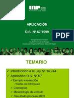 APLICACIÓN D.S. 67 1999