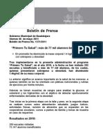 """06-05-2011 """"Primero Tu Salud""""_ más de 77 mil alumnos beneficiados"""