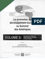 La promotion du développement durables au Sommet de Amériques  Volume 3