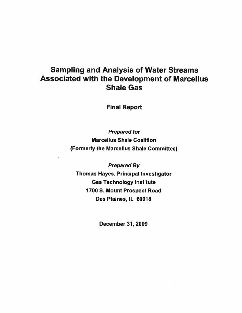 Sampling and Analysis of Water Streams