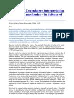 Against the Copenhagen Interpretation of Quantum Mechanics
