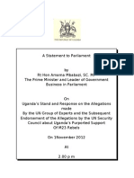Prime Minister's Statement on Uganda's Stand and Response on Allegations by the UN
