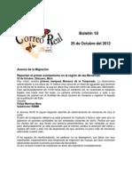 Boletín 10 de correo real de las mariposas monarca octubre de 2010