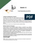 Boletín 12 de correo real de las mariposas monarca, noviembre de 2012