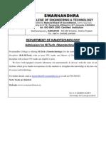 Advertisement for M.tech.(Nanotechnology)