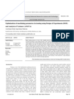 Optimization of machining parameters in turning using Design of Experiments (DOE) and Analysis of Variance (ANOVA)