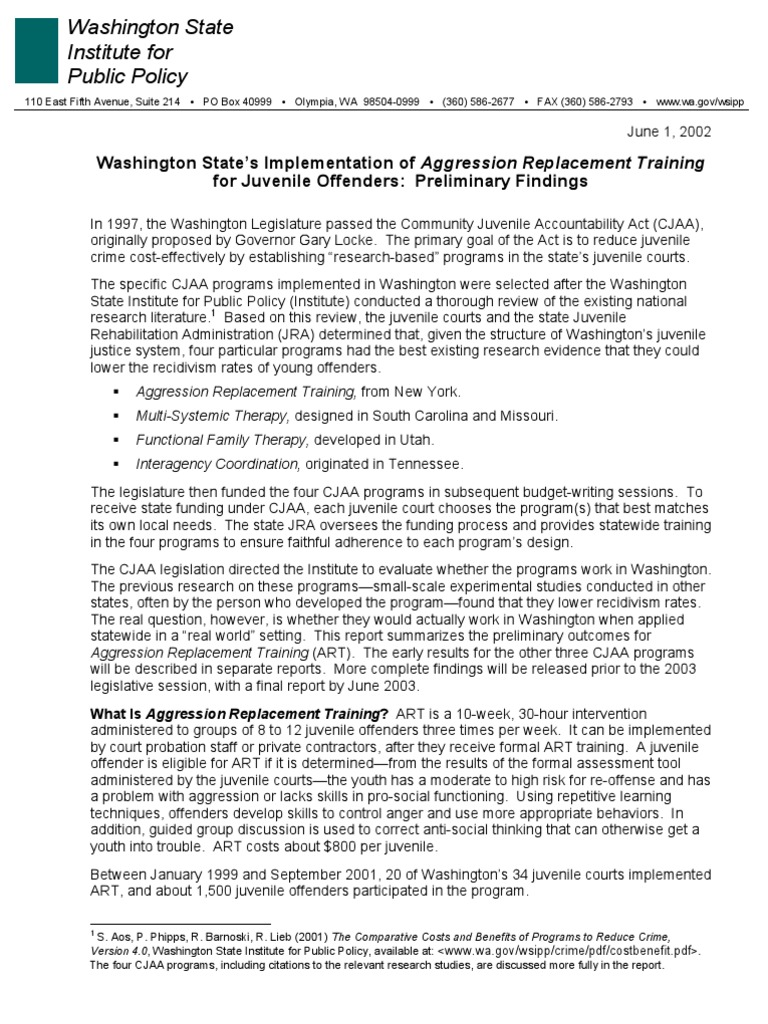 Washington State's Implementation of Aggression Replacement