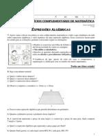 3ª Lista de Exercícios Complementares de Matemática (Expressões Algébricas) Professora Michelle - 8º Ano