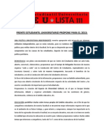 Frente Estudiantil Universitario Propone Para El 2013