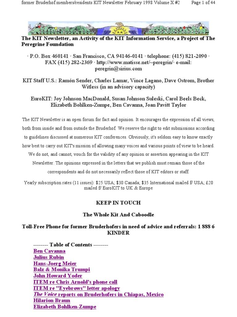 KIT February 1998, Vol X #2 New 2-9-98   Forgiveness   Repentance