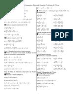 Banco de Equações, Inequações, Sistemas de Equações e Problemas do 1º Grau