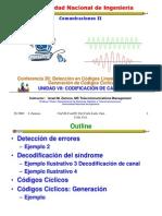 Lecture 20 Detección en Códigos Lineales de Bloque. Generación de Códigos Cíclicos