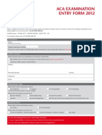 Aca Examination Entry Form 2012