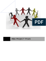 MBA Project Titles