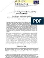 Regulatory Focus on Risky Decision-Making.