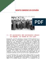 EL MOVIMIENTO OBRERO EN ESPAÑA(TRABAJO)