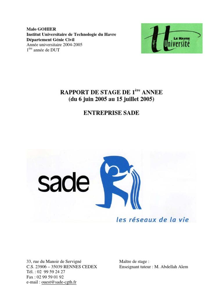 Rapport De Stage Premiere Annee Iut Genie Civil Entreprise Sade