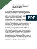 Carta de renuncia de Nicolás Lynch Gamero a la Embajada de Perú en Argentina presentada al Presidente Ollanta Humala Tasso
