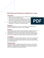 Information and Performance Guidelines for Groups