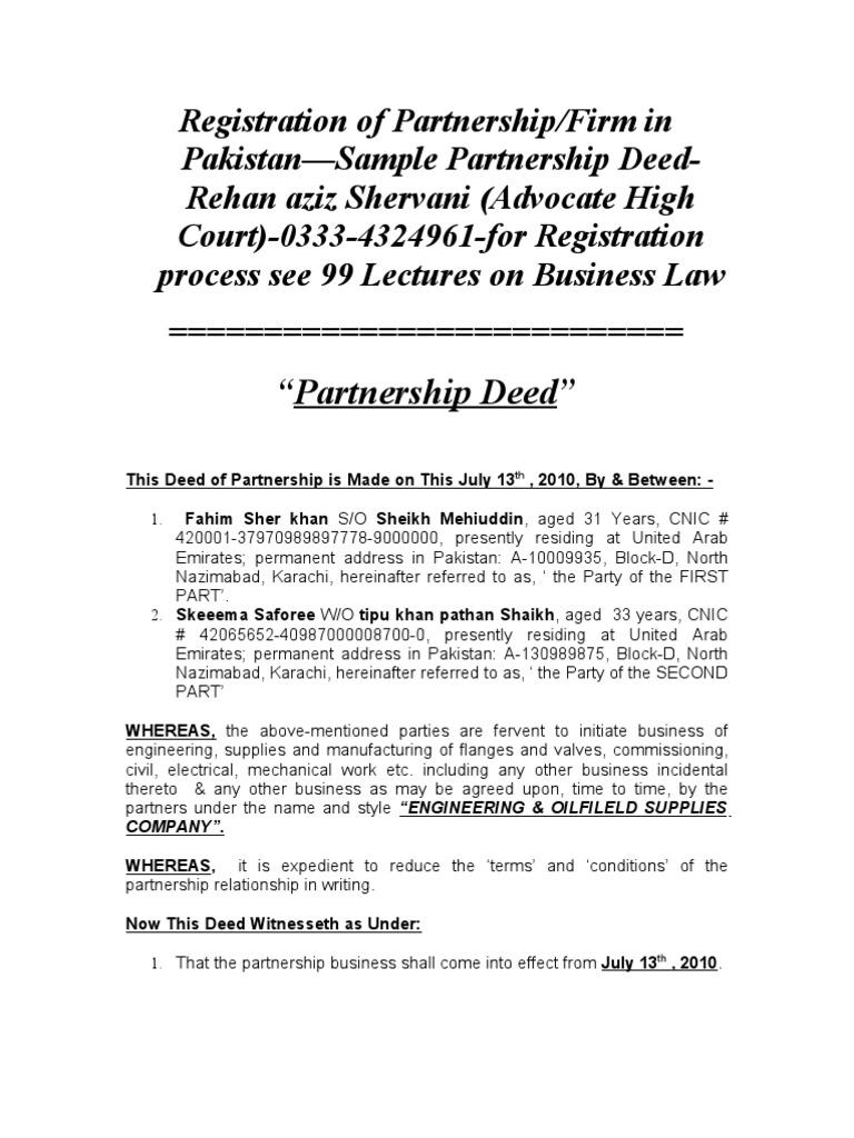 Registration of partnershipfirm in pakistansample partnership deed registration of partnershipfirm in pakistansample partnership deed rehan aziz shervani advocate high court 0333 4324961 for registration process see 99 altavistaventures Gallery