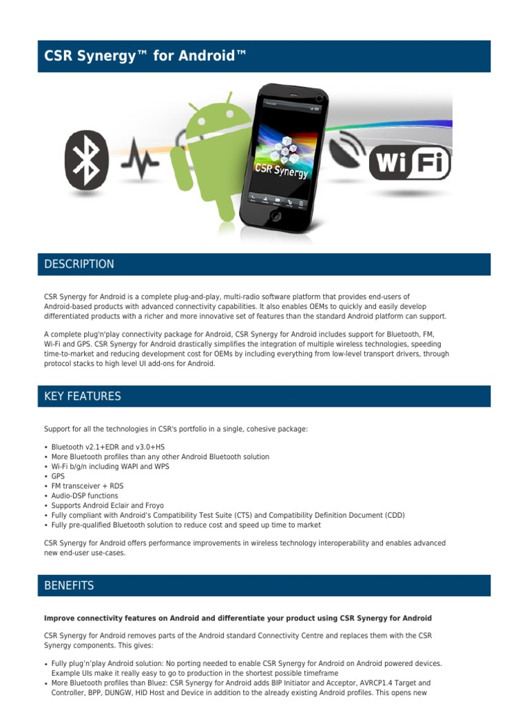 bluetooth-CSR Synergy™ for Android™ | Bluetooth | Android (Operating
