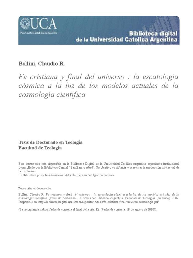 Fe Cristiana Final Universo Escatologia