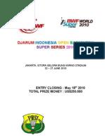 Djarum Indonesia Super Series 2010 Invitation