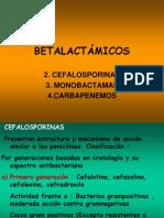Cefalosporinas, Monobactamas y Carbapenemos