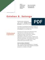Steve Salonga's professional resume / biodata