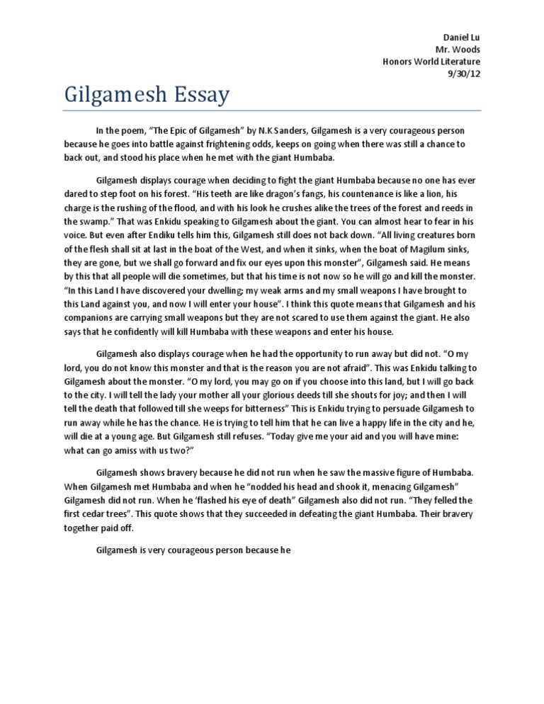 Types Of English Essays  Thesis Essay Examples also High School Essay Example Gilgamesh Essay  Epic Of Gilgamesh  Poetry Christmas Essay In English