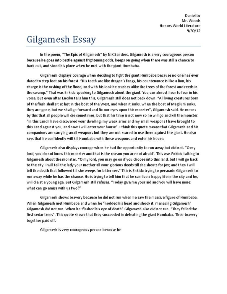 08 - Gilgamesh Essay Questions