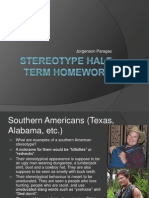 Stereotype Half Term Homework